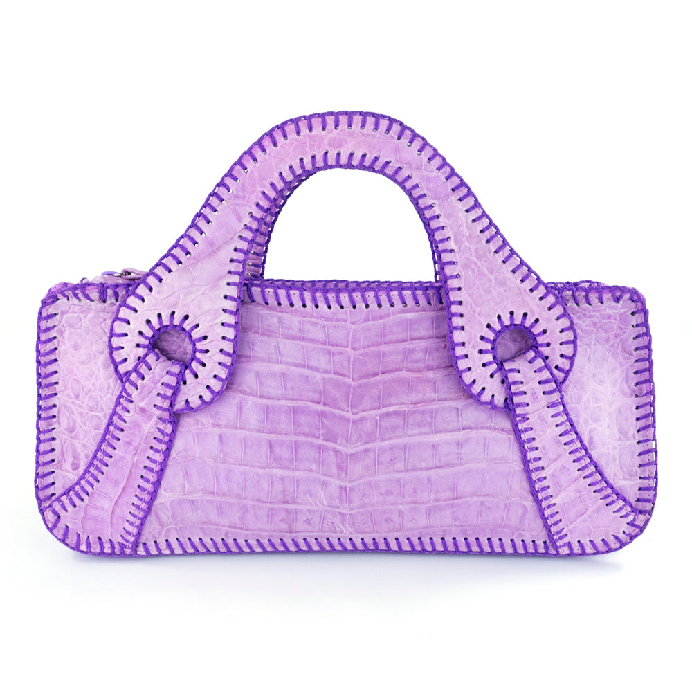 FALCHI Top-Stitched Lavender Alligator Handbag