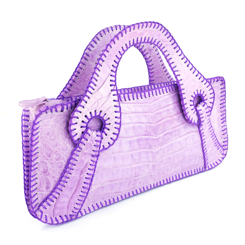 FALCHI Top-Stitched Lavender Alligator Handbag, side