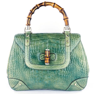 GUCCI Bamboo & Mint Green Alligator Handbag