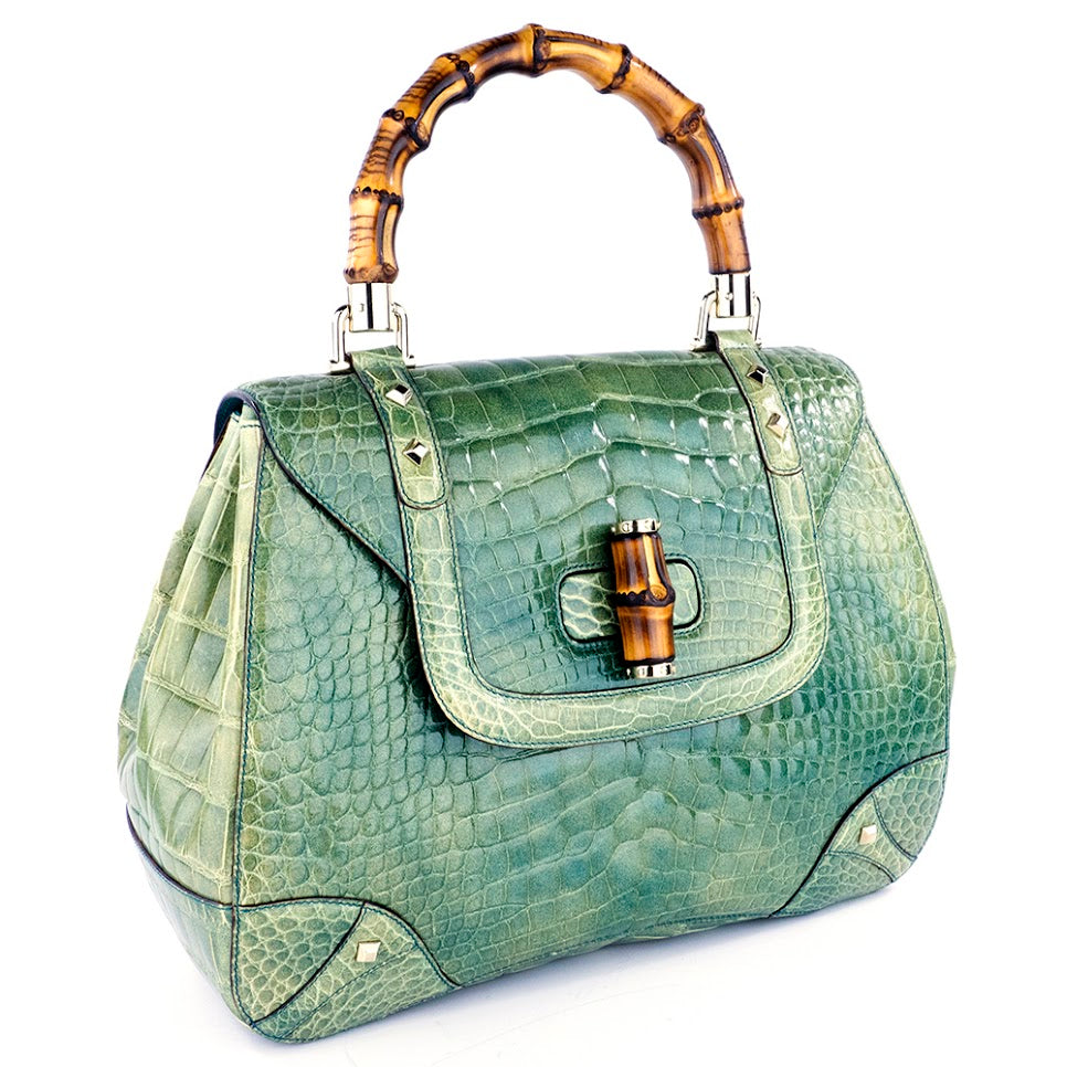 GUCCI Bamboo & Mint Green Alligator Handbag, side