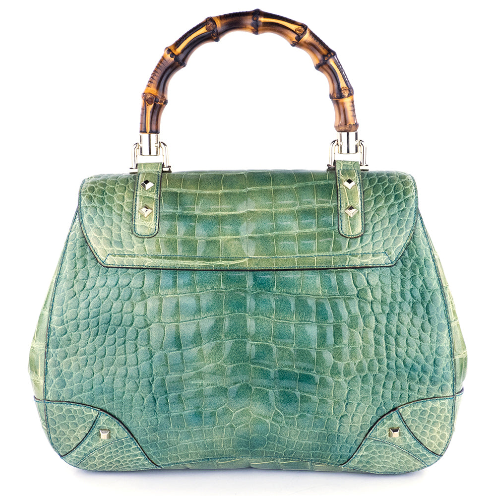 Gucci Mint Green Alligator Handbag with Bamboo Hardware back