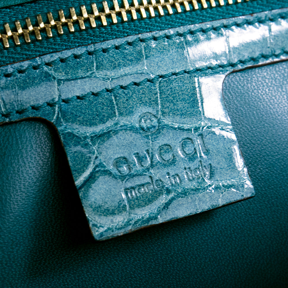 GUCCI Bamboo & Mint Green Alligator Handbag, detail 4