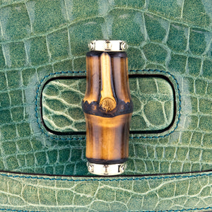 GUCCI Bamboo & Mint Green Alligator Handbag, detail 3