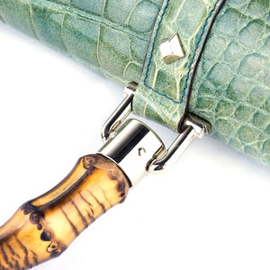 GUCCI Bamboo & Mint Green Alligator Handbag, detail 2