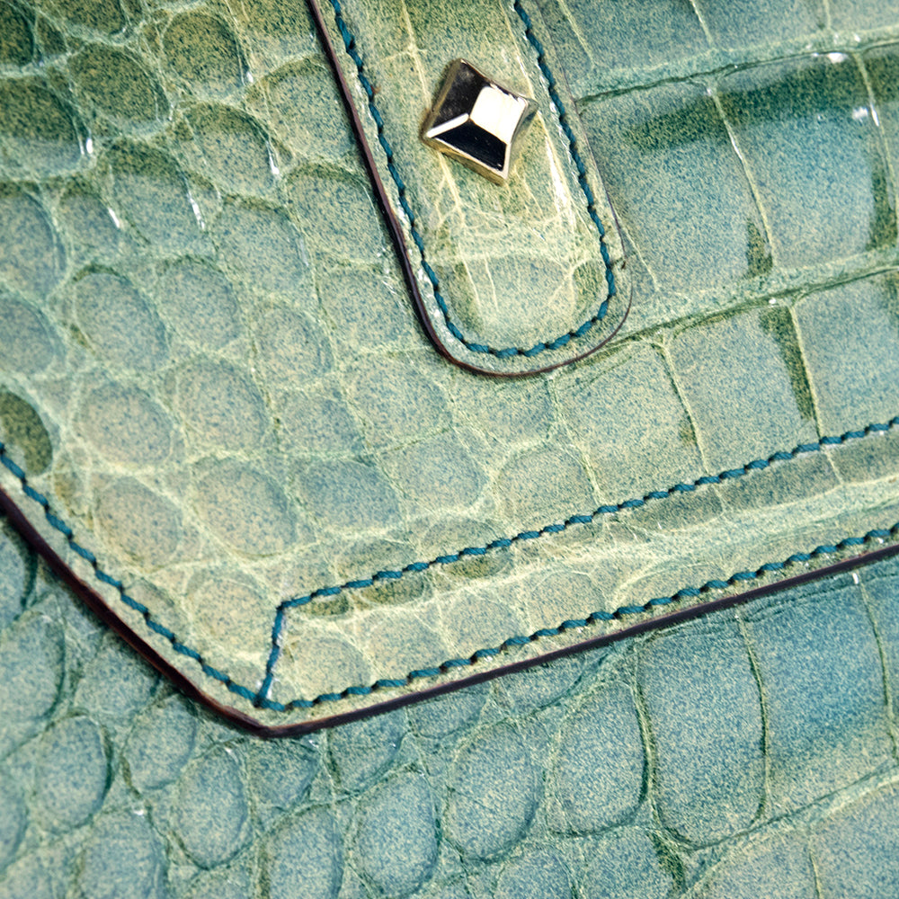 GUCCI Bamboo & Mint Green Alligator Handbag, detail 1