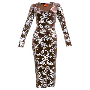 Vintage WESTWOOD 90s Bodycon Velvet Stenciled Dress