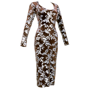 Vintage WESTWOOD 90s Bodycon Velvet Stenciled Dress, side