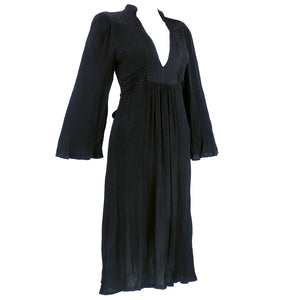 Vintage  OSSIE  CLARK 70s Black Crepe Peasant-Style Dress, side