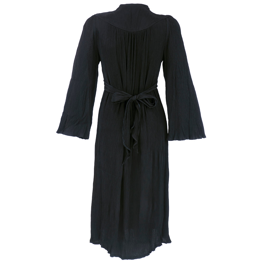Vintage  OSSIE CLARK 70s Black Crepe Peasant-Style Dress, back