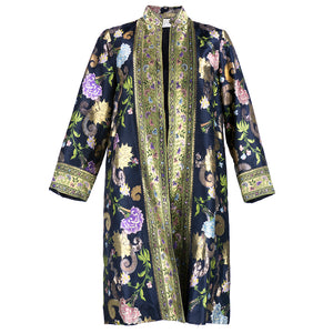 Vintage 60s Floral Metallic Brocade Evening Coat