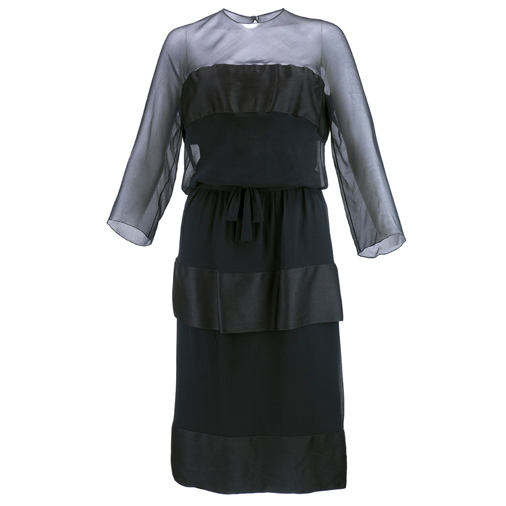 Vintage DIOR 60s Black Chiffon & Satin Cocktail Dress, front
