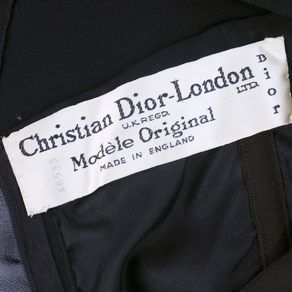 Vintage DIOR 60s Black Chiffon & Satin Cocktail Dress, label
