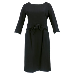 Vintage DIOR 60s Couture Black Two-Piece Wool Dress