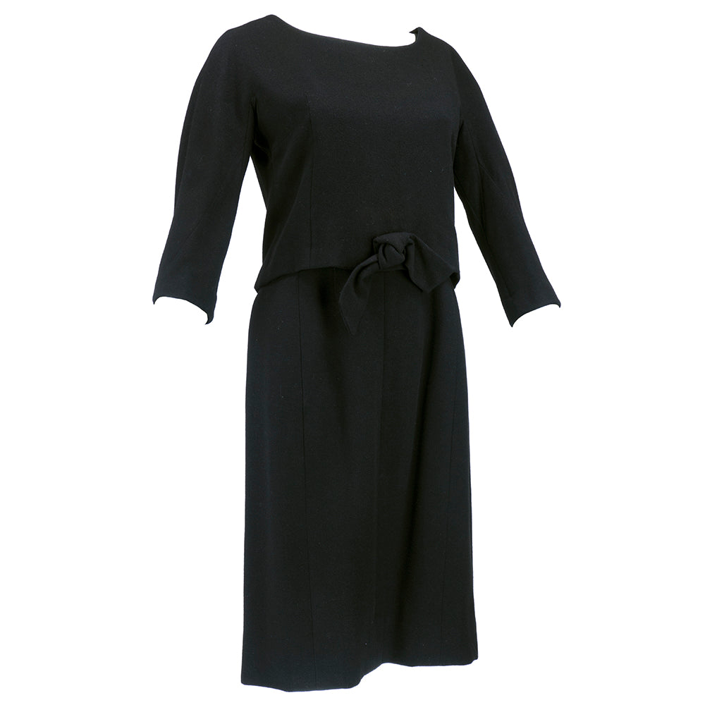 Vintage DIOR 60s Couture Black Two-Piece Wool Dress, side