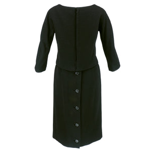 Vintage DIOR 60s Couture Black Two-Piece Wool Dress, back