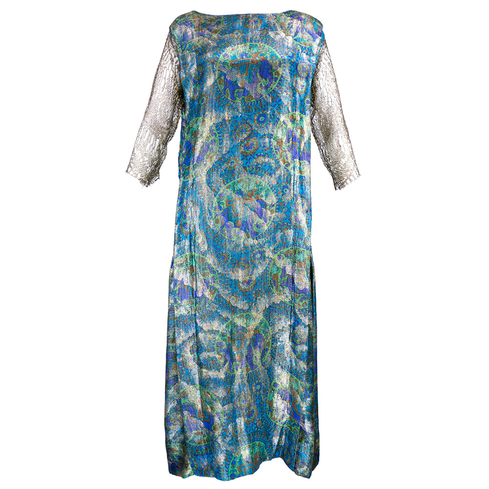 Vintage 20s Blue Paisley Deco Lame Dress
