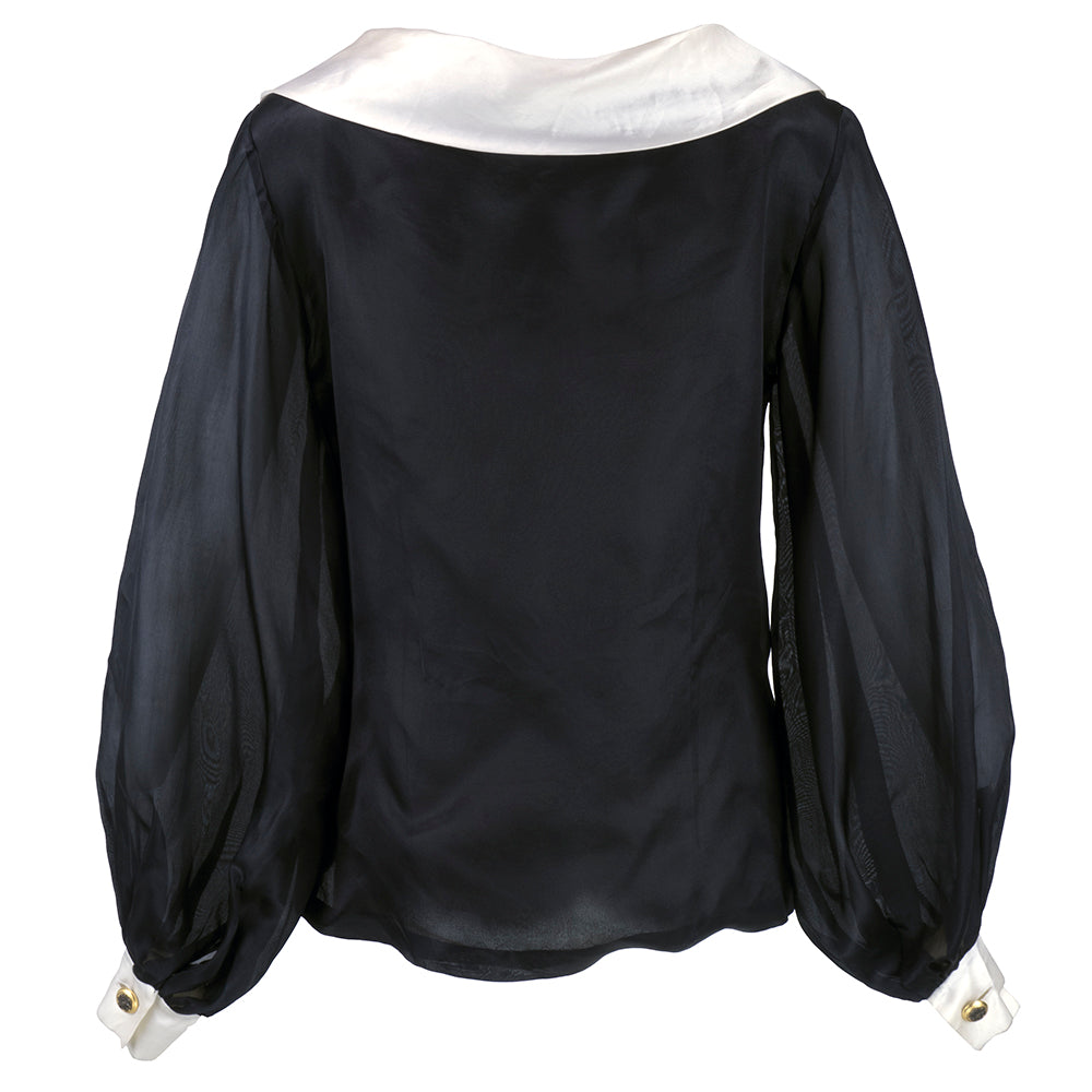 Vintage FATH 80s Organza Black & White Blouse, back