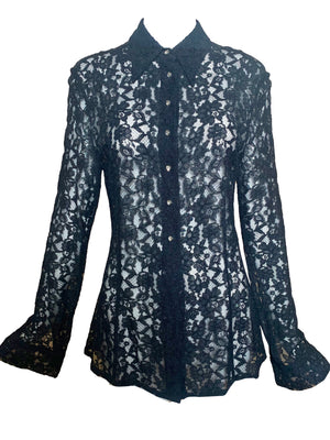 Dolce and Gabbana Black lace Button Down Blouse FRONT 1 of 5