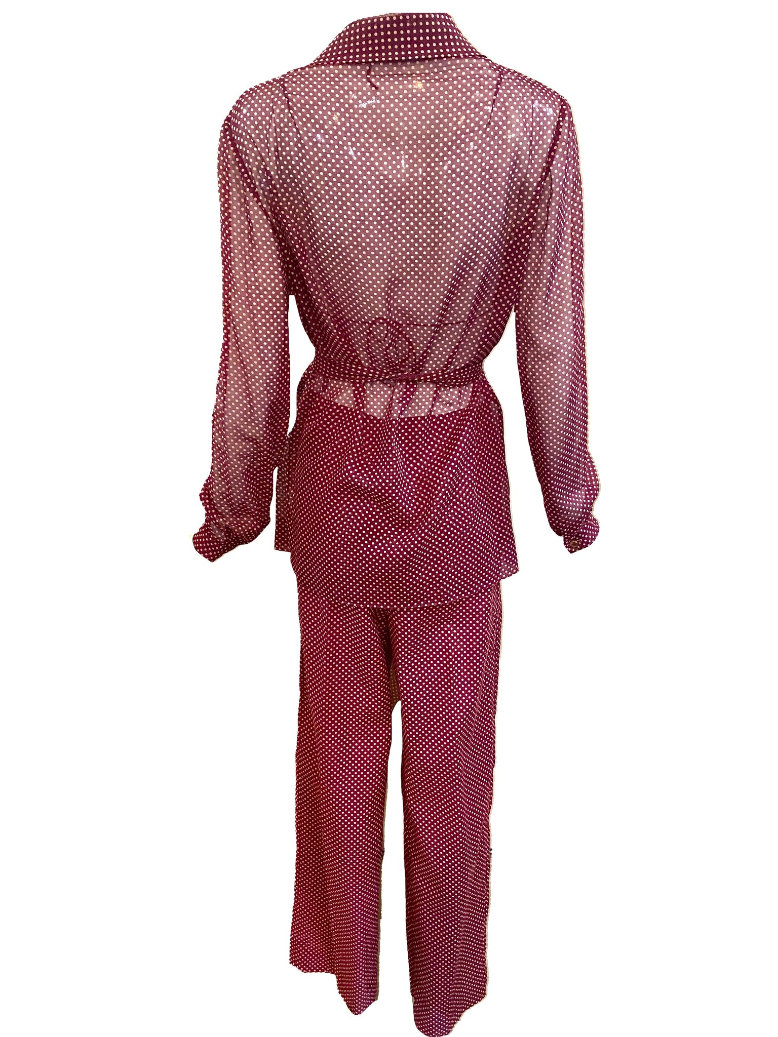 Halston 3 Piece Burgundy Polka Dot Beach Pajamas BACK 3 of 6