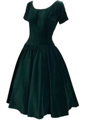 Anne Fogarty 50s Green Velvet Holiday Dress SIDE 2 of 4