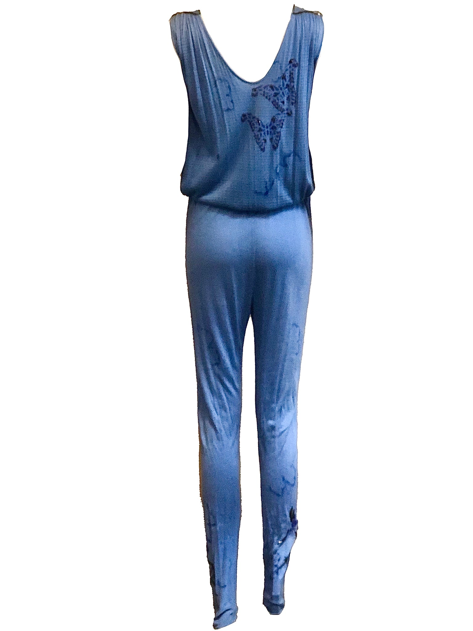 Suzy Creamcheese 70s Blue Jersey Airbrushed  Sexy Jumpsuit BACK 3 of 5