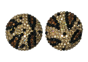 80s Richard Kerr Oversized Crystal Leopard Button Earrings FRONT 1 of 2
