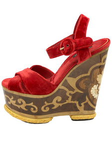 Dolce and Gabbana Red  Velvet Runway Platform With Beautiful Hand Inlay SIDE 1 of 7