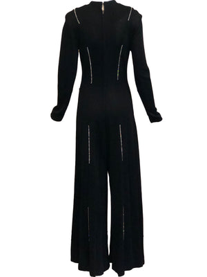 70s Black Polyester Rhinestone Jumpsuit BACK  3 of 5
