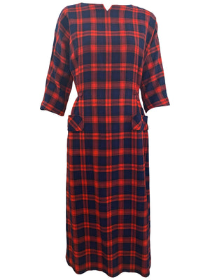 Aljean 60s 3 Piece Ensemble of Red and Blue Wool Plaid -Dress, Coat and Hat DRESS FRONT 3 of 8