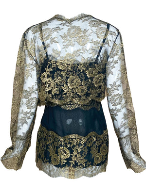 80s Gold Lame Lace Evening Blouse with Matching Cropped Jacket BACK 3 of 5