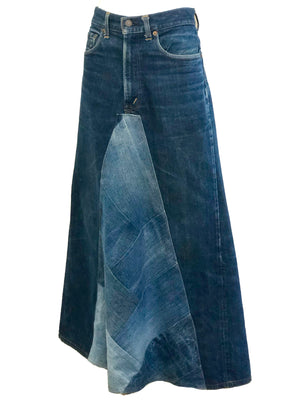 Levi 70s Denim Patchwork Maxi Skirt SIDE 2 of 6