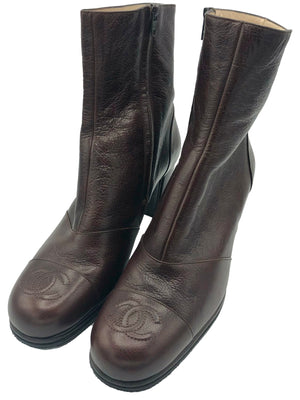 Chanel Early 2000s Chocolate Brown Ankle Boots with CC Logo ANGLE 1 of 4