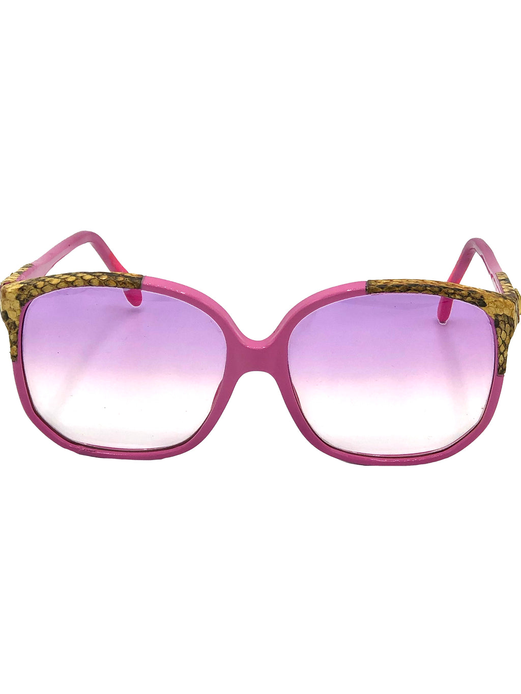 Emmanuelle Khanh 80s Pink Sunglasses with Snake Trim FRONT 1 of 4