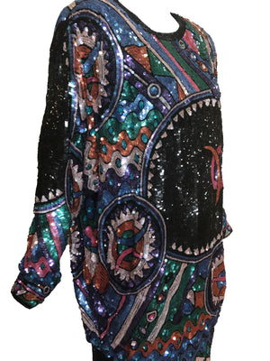 Judith Ann 80s Extravagantly Beaded and Sequined Rainbow Fantasy Dress DETAIL 4 of 6