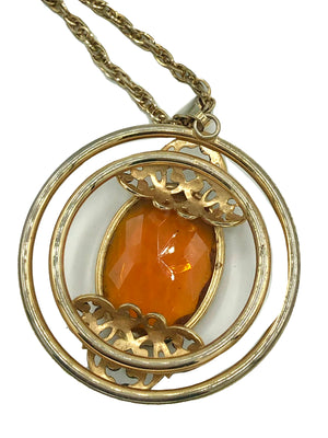 70s Citrine Colored Gem Pendant Necklace BACK 3 of 3