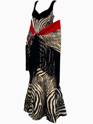 Arnold Scaasi 1992 Zebra Print Bombshell Gown with Shawl SIDE WITH SHAWL 4 of 6