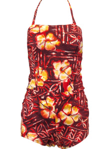50s Red, Yellow and White Tropical Print Halter Playsuit 1 of 3