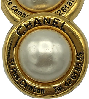 Chanel Mabe Pearl Earrings with Phone Number FRONT 1 of 2