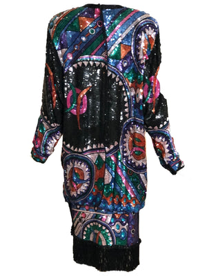 Judith Ann 80s Extravagantly Beaded and Sequined Rainbow Fantasy Dress Back 3 of 6
