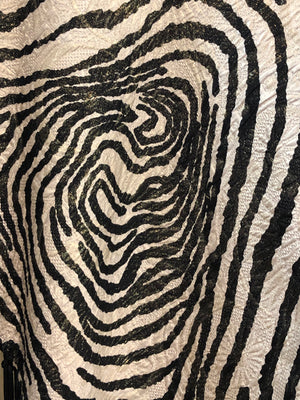Arnold Scaasi 1992 Zebra Print Bombshell Gown with Shawl CLOSE UP PRINT 5 of 6