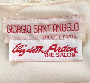 Sant Angelo Dress 70s Ivory Crepe and Silver Shot Lace LABEL 4 of 4