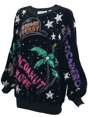 Bonnie Boerer 80s  Black Velvet Sequin Fantasy Top SIDE 2 of 7