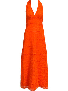 +70s Orange Crochet Halter Maxi Dress FRONT 1 of 4