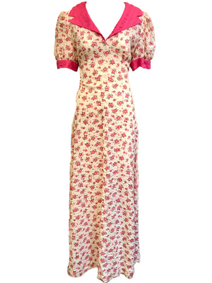 70s Maxi Dress Pink Floral Seersucker  FRONT 1 of 4