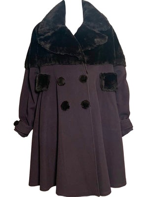 Fendi 90s Brown Wool Cashmere Coat with Faux Fur FRONT 1 of 5