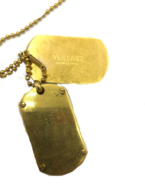 Lifetime Versace Gold Tone Enamel Dog Tags BACK OF TAG 4 of 5