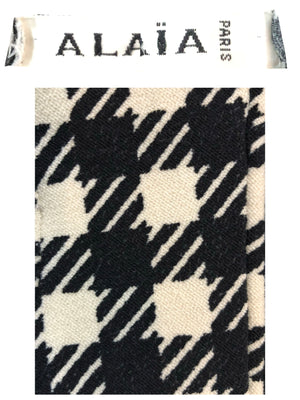 Alaia Iconic Black and White Houndstooth Gloves  DETAIL/LABEL