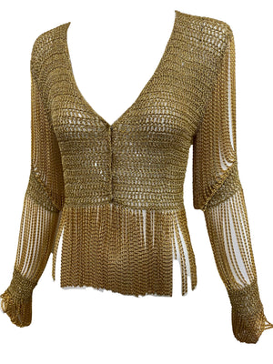 LORIS AZZARO 70s gold Crochet Cardigan with Metal Fringe ANGLE 2 of 5