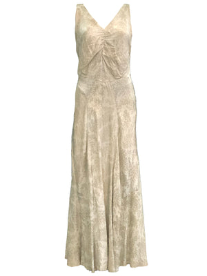 30s Gold Lame Gown with Full Length Slip FRONT 1 of 4