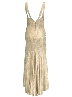 30s Gold Lame Gown with Full Length Slip BACK 3 of 4